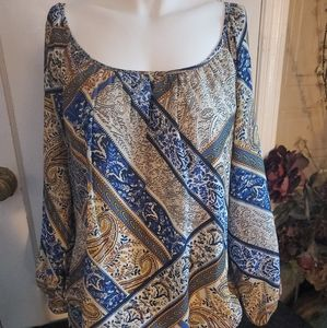 Dress Barn Woman's XL Gold Blue Designed Shirt Top
